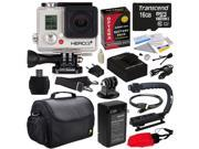 GoPro HD Hero3+ Hero 3+ Silver Edition (CHDHN302) with 16GB MicroSD, Battery, Charger, European Adapter, Action Grip Handle, Case, HDMI Cable, Floating Strap, Tripod Adapter Mount, Cleaning Kit
