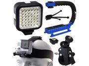Opteka xGrip Stabilizing Action Grip Handle Handheld Holder (Blue), LED Light, Head Strap, Bike Bicycle Handlebar Seatpost Mount, Dust Removal Cleaning Kit for GoPro Hero4 Hero3+ Hero3 Camera