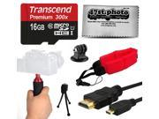 Stabilizing Grip 16GB Memory Card HDMI Cable microSD Adapter Mini Tripod Floating Hand Grip Handle Cleaning Kit for GoPro Hero4 Hero3 Hero3 Hero2 H