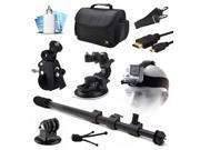 Large Premium Travel Case, Head Helmet Strap Action Mount, Selfie Stick Monopod, Car Cup Suction Mount, Bike Mount, HDMI Cable, Mini Tripod, Cleaning Kit for GoPro Hero4 Hero3+ Hero3 Hero2 Camera