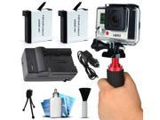 GoPro HERO4 Hero 4 Black Silver Best Value Accessory Package includes AHDBT401 Battery Pack (2) + Stabilization Handheld Handle + Home & Wall Car Travel Charger + Dust Removal Cleaning Kit