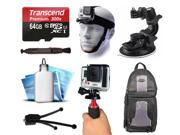 64GB Grip Backpack Head Mount All Around Accessories Kit for GoPro HERO4 Hero 4