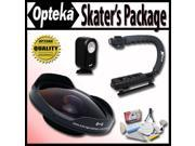 "Opteka Deluxe ""Skaters"" Package with OPT-SC37FE 0.3X Ultra Fisheye Lens, X-GRIP Handle, & 3 Watt Light for Canon Elura 40MC, 50, ZR100, ZR200, ZR300, MV800, MV800i, MV830, MV830i and MV850i Camcorders"