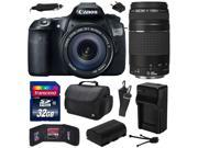 Canon EOS 60D 18 MP CMOS Digital SLR Camera with 18-135mm f/3.5-5.6 IS UD and EF 75-300mm f/4-5.6 III Lens with 32GB Memory + Large Case + Battery + Charger + Cleaning Kit (32GB Value Bundle) 4460B004