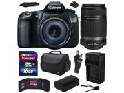 Canon EOS 60D 18 MP CMOS Digital SLR Camera with 18-135mm f/3.5-5.6 IS UD and EF-S 55-250mm f/4-5.6 IS II Lens with 16GB Memory + Large Case + Extra Battery + Travel Charger + Cleaning Kit 4460B004