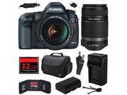 Canon EOS 5D Mark III 22.3 MP Full Frame CMOS Digital SLR Camera with EF 24-105mm f/4 L IS USM Lens and EF-S 55-250mm f/4-5.6 IS II Lens with 32GB Memory + Large Case + Battery + Charger 5260B009