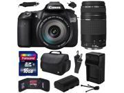 Canon EOS 60D 18 MP CMOS Digital SLR Camera with EF-S 18-200mm f/3.5-5.6 IS and EF 75-300mm f/4-5.6 III Lens includes 16GB Memory + Large Case + Extra Battery + Travel Charger +  Cleaning Kit 4460B016