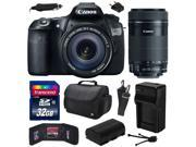 Canon EOS 60D 18 MP CMOS Digital SLR Camera with 18-135mm f/3.5-5.6 IS UD and EF-S 55-250mm f/4-5.6 IS STM Lens with 32GB Memory + Large Case + Extra Battery + Travel Charger + Cleaning Kit 4460B004