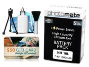 Photomate NB10L NB-10L 1500mAh Battery for Canon Powershot SX40HS SX50HS SX60HS Digital Camera