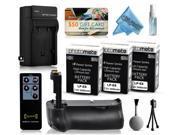 Multi Power Battery Grip + (3 Pack) Ultra High Capacity LP-E8 LPE8 Battery (2400mAh) + AC/DC Rapid Battery Charger for Canon EOS Kiss X4 X5 X6i X7i DSLR SLR Digital Camera (BG-E8 BGE8 Replacement)