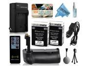 Multi Power Battery Grip + (2 Pack) Ultra High Capacity LP-E8 LPE8 Battery (2400mAh) + AC/DC Rapid Battery Charger for Canon EOS Kiss X4 X5 X6i X7i DSLR SLR Digital Camera (BG-E8 BGE8 Replacement)
