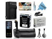 Multi Power Battery Grip + Ultra High Capacity LP-E8 LPE8 Battery (2400mAh) + AC/DC Rapid Battery Charger for Canon EOS 550D 600D 650D 700D DSLR SLR Digital Camera (BG-E8 BGE8 Replacement)