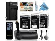 Multi Power Battery Grip + (3 Pack) Ultra High Capacity LP-E8 LPE8 Battery (2400mAh) + AC/DC Rapid Battery Charger for Canon EOS Rebel T2i T3i T4i T5i  DSLR SLR Digital Camera (BG-E8 BGE8 Replacement)