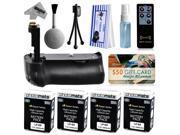 Multi Power Battery Grip + (4 Pack) Ultra High Capacity LP-E8 LPE8 Battery (2400mAh) for Canon EOS Rebel T2i T3i T4i T5i 550D 600D 650D 700D Kiss X4 X5 X6i X7i DSLR SLR Digital Camera