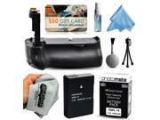 Multi Power Battery Grip + Ultra High Capacity EN-EL14 ENEL14 Replacement Battery (1800mAh) + $50 Gift Card for Prints + Lens Cleaning Kit for Nikon D3100 D3200 DSLR SLR Digital Camera