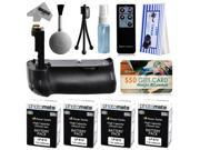Multi Power Battery Grip + (4 Pack) Ultra High Capacity LP-E12 LPE12 Replacement Battery (2400mAh) + $50 Gift Card for Prints + Lens Cleaning Kit for Canon EOS Rebel SL1 100D DSLR SLR Digital Camera