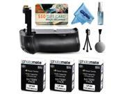 Multi Power Battery Grip + (3 Pack) Ultra High Capacity LP-E6 LPE6 Replacement Battery (2800mAh) + $50 Gift Card for Prints for Canon EOS 6D DSLR SLR Digital Camera (BG-E13 BGE13 Replacement)