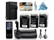 Multi Power Battery Grip + (3 Pack) Ultra Capacity LP-E6 LPE6 Replacement Battery (2800mAh) + AC/DC Battery Charger for Canon EOS 5DM3 5DMIII 5DMark 5DMark3 5D Mark 3 III DSLR SLR Digital Camera