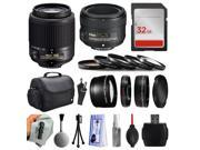 Beginner Accessories Bundle for Nikon DF D7200 D7100 D7000 D5500 D5300 D5200 D5100 D5000 D3300 D3200 D3100 D300S D90 includes Nikon 55-200mm Lens 2156 + 50mm f/1.8G Lens + 32GB Memory + Filters + Case