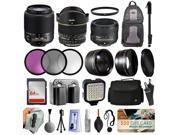 Ultimate Lens Accessories Bundle with 55-200mm Lens 2156 + 50mm f/1.8G + 6.5mm f/3.5 HD Fisheye for Nikon D5500 D5300 D5200 D5100 D3300 D3200 D3100 + Filters + Backpack + 64GB Card + Case + LED Light