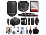 Beginner Accessories Bundle for Nikon DF D7200 D7100 D7000 D5500 D5300 D5200 D5100 D5000 D3300 D3200 D3100 D300S D90 includes Nikon VR 55-200mm Lens + 50mm f/1.8G Lens + 32GB Memory + Filters + Case