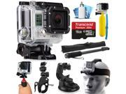 GoPro HERO3 Hero 3 Silver Edition Action Camera Camcorder with Accessories Bundle includes 16GB MicroSD Card + Selfie Stick + Bike Mount + Car Windshield Suction Cup + Head Helmet Strap (CHDHN-301)