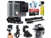 GoPro HD HERO Waterproof Action Camera Camcorder with 32GB Deluxe Accessories Bundle includes microSD Card + Floating Bobber + Selfie Stick + Stabilizer Holder + Car Windshield Suction Cup (CHDHA-301)
