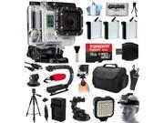 GoPro HERO3 Hero 3 Silver Edition Camera Camcorder with Ultimate Accessory Bundle includes 16GB MicroSD + 3x Batteries + Car Charger + Case + Stabilizer + Tripod + Dash Mount + LED Light (CHDHN-301)