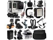 GoPro HERO4 Hero 4 Silver Edition Action Camera Camcorder + Selfie Stick + Stabilizer + LED Video Light + Microphone + Chest Strap + Hand/Wrist Glove Strap + Head/Helemet Mount + Case (CHDHY-401)