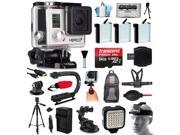 GoPro HERO3+ Hero 3+ Silver Camera Camcorder Bundle with 64GB MicroSD + 3x Battery + Charger + Backpack + Chest Harness + Stabilizer + Tripod + Car Suction Cup Mount + LED Video Light (CHDHN-302)