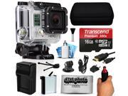 GoPro HERO3 Hero 3 Silver Edition Action Camera Camcorder with 16GB Best Value Accessory Bundle includes MicroSD Card + Stabilization Grip + Battery + Home and Car Charger + Medium Case (CHDHN-301)