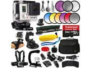 GoPro HERO3+ Hero 3+ Black Plus Edition Action Camera Camcorder with 9 Filters Kit + 64GB MicroSD Card + Selfie Stick + Floating Bobber + Large Case + Chest Strap + Stabilizer + Charger (CHDHX-302)