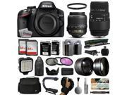 Nikon D3200 DSLR Digital Camera with 18-55mm VR + Sigma 70-300mm Lens + 128GB Memory + 2 Batteries + Charger + LED Video Light + Backpack + Case + Filters + Auxiliary Lenses + $50 Gift Card + More!