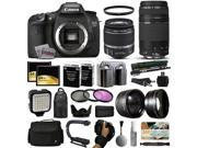 Canon EOS 7D DSLR Digital Camera 18 55mm IS II 75 300mm USM Lens 128GB Memory 2 Batteries Charger LED Video Light Backpack Case Filters Auxi