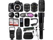 "Canon EOS 60D DSLR SLR Digital Camera + 18-55mm IS II + 6.5mm Fisheye + 55-250 IS STM + 650-2600mm Lens + Filters + 128GB Memory + i-TTL Autofocus Flash + Backpack + Case + 70"" Tripod + 67"" Monopod"