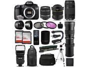 "Canon EOS 60D DSLR SLR Digital Camera + 18-55mm IS II + 6.5mm Fisheye + 55-250 IS STM + 420-1600mm Lens + Filters + 128GB Memory + i-TTL Autofocus Flash + Backpack + Case + 70"" Tripod + 67"" Monopod"