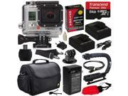 GoPro HD Hero3 Hero 3 Silver Edition (CHDHN301) with 64GB MicroSD, (2) Battery, Charger, European Adapter, Action Grip Handle, Case, HDMI Cable, Floating Strap, Tripod Adapter Mount, Cleaning Kit