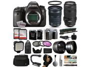 Canon EOS 6D DSLR Digital Camera + 24-105mm STM + 70-300mm IS USM Lens + 128GB Memory + 2 Batteries + Charger + LED Video Light + Backpack + Case + Filters + Auxiliary Lenses + More