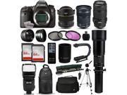 "Canon EOS 6D DSLR SLR Digital Camera + 70-300mm IS USM + 6.5mm Fisheye + 24-105 STM + 650-2600mm Lens + Filters + 128GB Memory + Action Stabilizer + i-TTL Autofocus Flash + Case + 70"" Tripod + More"