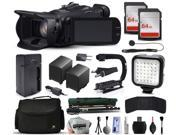 Canon XA20 Professional Camcorder Video Camera + 128GB Memory + Charger with Car/Euro Adapter + Action Stabilizer + LED Night Light + Cap Keeper + Large Case + Monopod + Dust Cleaning Kit + More