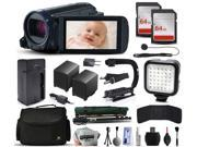 Canon VIXIA HF R600 HFR600 HD Camcorder Video Camera + 128GB Memory + Charger with Car/Euro Adapter + Action Stabilizer + LED Night Light + Cap Keeper + Large Case + Monopod + Dust Cleaning Kit + More