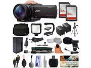 Sony FDR-AX100 4K Ultra HD Handycam Camcorder Video Camera + 128GB Boardcasting Filmmaker's Package with LED Night Light + Tripod + Monopod + Action Stabilizer + Handgrip + Microphone + More