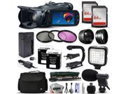 Canon VIXIA HF G30 HFG30 HD Camcorder Video Camera + 128GB Memory + Travel Charger + 3 Filters + 2 Batteries + Opteka X-Grip + LED Light + Microphone + Monopod + Large Case + Dust Cleaning Kit + More