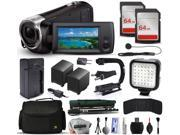 Sony HDR-CX240 Full HD Handycam Camcorder Video Camera + 128GB Memory + Charger with Car/Euro Adapter + Action Stabilizer + LED Night Light + Large Case + Monopod + Dust Cleaning Kit + More