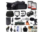 Canon XA25 Professional Camcorder Video Camera + 128GB Boardcasting Filmmaker's Package with LED Night Light + Tripod + Monopod + Action Stabilizer + Handgrip + Microphone + More