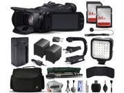 Canon XA25 Professional Camcorder Video Camera + 128GB Memory + Charger with Car/Euro Adapter + Action Stabilizer + LED Night Light + Cap Keeper + Large Case + Monopod + Dust Cleaning Kit + More