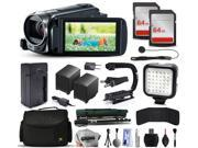 Canon VIXIA HF R52 HFR52 HD Camcorder Video Camera + 128GB Memory + Charger with Car/Euro Adapter + Action Stabilizer + LED Night Light + Cap Keeper + Large Case + Monopod + Dust Cleaning Kit + More