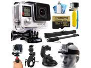 GoPro Hero 4 HERO4 Black Edition 4K Action Camera Camcorder with 32GB MicroSD Card, Selfie Stick, Handlebar Mount, Windshield Cup, Helmet Strap, Floating Bobber, Mini Tripod, Cleaning Kit