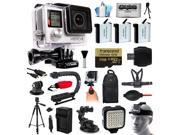 GoPro Hero 4 HERO4 Black Edition 4K Action Camera Camcorder with 64GB MicroSD, 3x Battery, Charger, Backpack, Chest Harness, Handle, Tripod, Car Mount, LED Light, Helmet Strap, Cleaning Kit