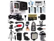 GoPro Hero 4 HERO4 Black Edition 4K Action Camera Camcorder with 32GB MicroSD, 3x Battery, Charger, Backpack, Chest Harness, Handle, Tripod, Car Mount, LED Light, Helmet Strap, Cleaning Kit